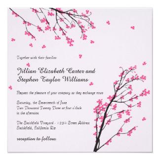 Tronco de la flor de cerezo - invitación cuadrada