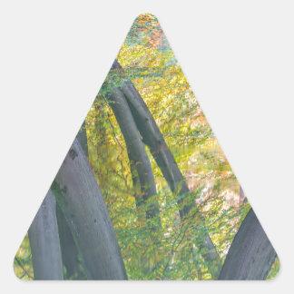 Troncos de árbol de la caída con la reflexión en pegatina triangular