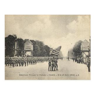 Tropas americanas en París, el 4 de julio de 1918 Postal