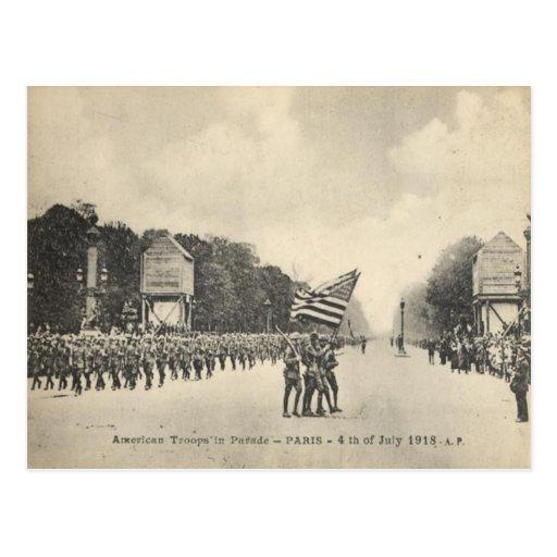 Tropas americanas en París, el 4 de julio de 1918 Tarjetas Postales