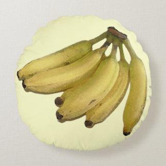 tropical-decoración amarilla del plátano cojín redondo