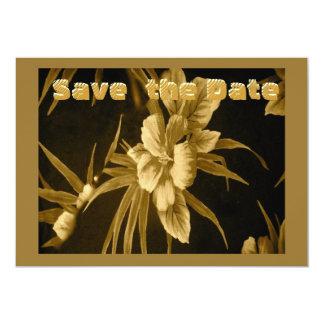 Tropical hawaiano de oro invitación 12,7 x 17,8 cm