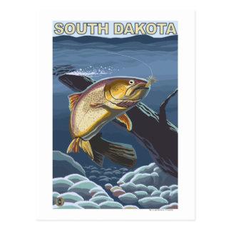 Trucha de asesino FishingSouth Dakota Tarjeta Postal