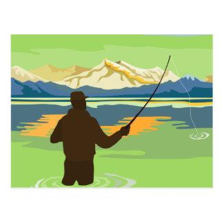 Trucha de cogida de la pesca del pescador de la mo tarjeta postal
