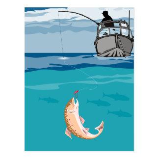 Trucha de cogida del barco de pesca del pescador d tarjeta postal