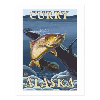 Trucha que pesca la sección representativa - curry postal