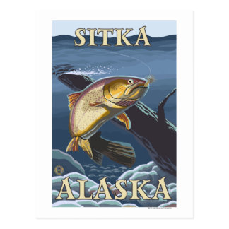 Trucha que pesca la sección representativa - Sitka Tarjetas Postales