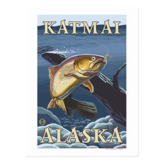 Trucha que pesca la sección representativa - postales