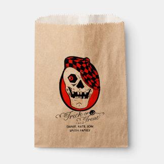 Truco o invitación de Halloween del cráneo del Bolsa De Papel