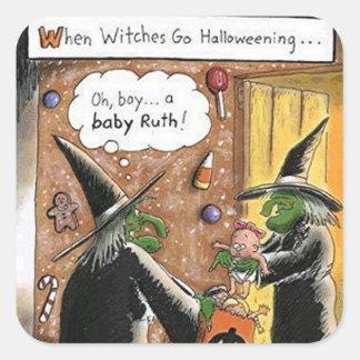 Truco o invitación divertido de las brujas de pegatina cuadrada