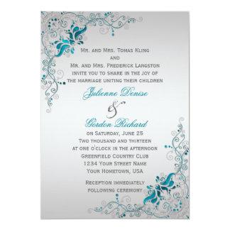 Trullo adornado y bodas florales de plata de los invitación 12,7 x 17,8 cm