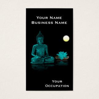 Trullo Buda y Lotus en tarjeta de visita negra