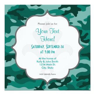 Trullo Camo verde, camuflaje Invitación 13,3 Cm X 13,3cm