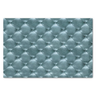 Trullo de cuero copetudo metálico azul acuático de papel de seda