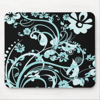 Trullo de la aguamarina y regalos florales negros  alfombrilla de ratón