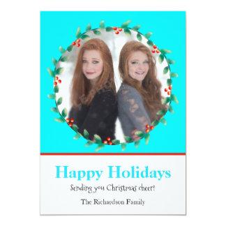 Trullo de la guirnalda del navidad y tarjeta invitación 12,7 x 17,8 cm