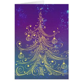 Trullo de la púrpura del adorno del árbol de tarjeta de felicitación