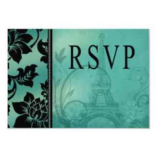 Trullo de RSVP el | de la torre Eiffel de Fleur de Invitación 8,9 X 12,7 Cm