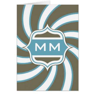Trullo espiral retro del monograma marrón tarjeta de felicitación