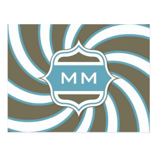 Trullo espiral retro del monograma marrón postal