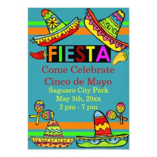 Trullo mexicano de las invitaciones de Cinco de Invitación 12,7 X 17,8 Cm