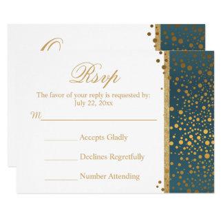 Trullo y blanco de la tarjeta de RSVP del boda con