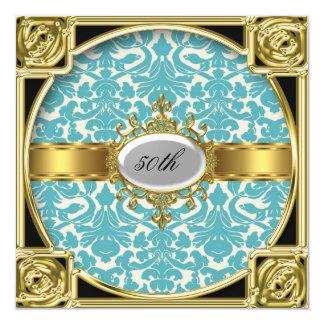 Trullo y damasco clásico blanco cualquier fiesta invitación 13,3 cm x 13,3cm