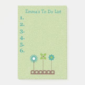 Trullo y flores verdes personalizados para hacer notas post-it®