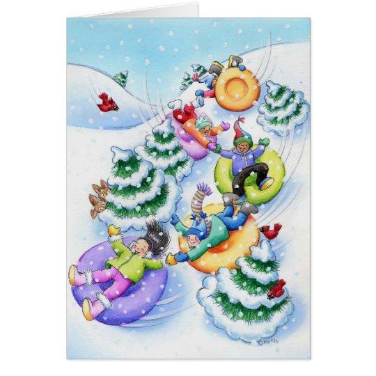 Tubería de la nieve tarjeta de felicitación