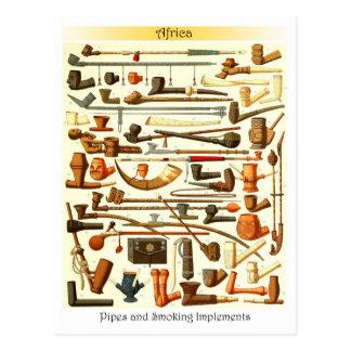 Tubos africanos e instrumentos que fuman postal