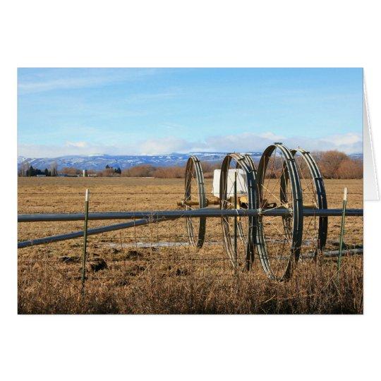 Tubos de la irrigación en campo tarjeta de felicitación