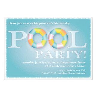 Tubos flotantes de una fiesta en la piscina del invitación 12,7 x 17,8 cm