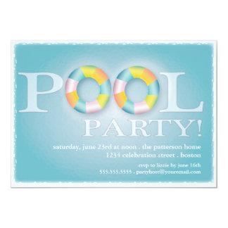 Tubos flotantes de una fiesta en la piscina en el invitación 12,7 x 17,8 cm