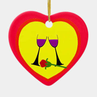 Tueste para amar el ornamento rojo amarillo del adorno navideño de cerámica en forma de corazón
