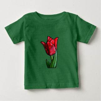 Tulipán rojo exótico del vitral camiseta de bebé