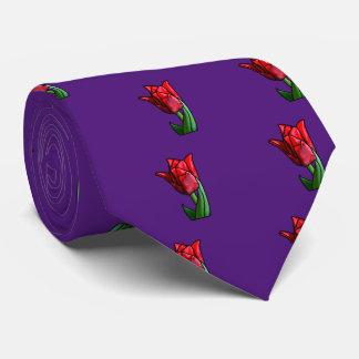 Tulipán rojo exótico del vitral corbatas