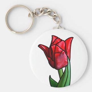 Tulipán rojo exótico del vitral llavero redondo tipo chapa