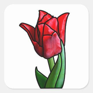 Tulipán rojo exótico del vitral pegatina cuadrada