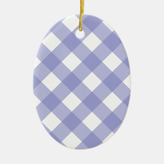 Tulipán violeta de la tela escocesa 1 adorno ovalado de cerámica