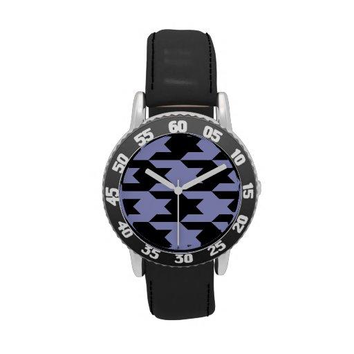Tulipán violeta del modelo 1 de Houndstooth Reloj De Mano