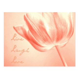 Tulipán vivo risa amor del melocotón tarjeta postal