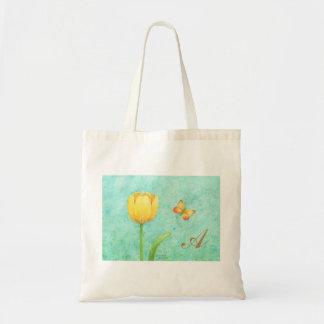 Tulipán y mariposa de encargo del amarillo del bolso de tela