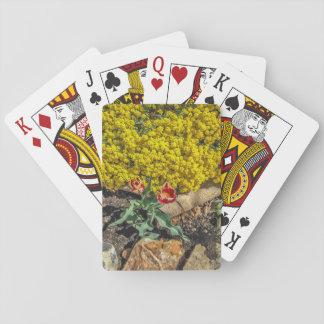 Tulipanes abigarrados y flores amarillas - el día baraja de cartas