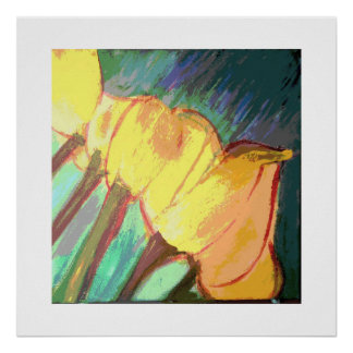 Tulipanes amarillos póster