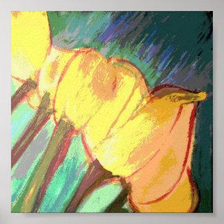 Tulipanes amarillos poster 6 x 6