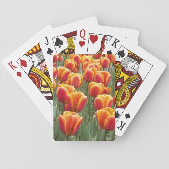 Tulipanes anaranjados florales barajas de cartas