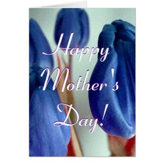 Tulipanes azules felices del día de madre tarjeta de felicitación