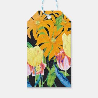 Tulipanes botánicos del vintage amarillo etiquetas para regalos