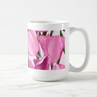 Tulipanes de la primavera. Taza del regalo del día
