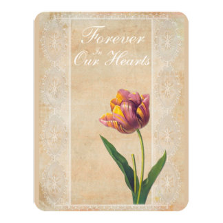 Tulipanes del cordón del vintage para siempre en invitación 10,8 x 13,9 cm